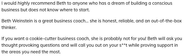 Beth Weinstein - online spiritual business coaching program review