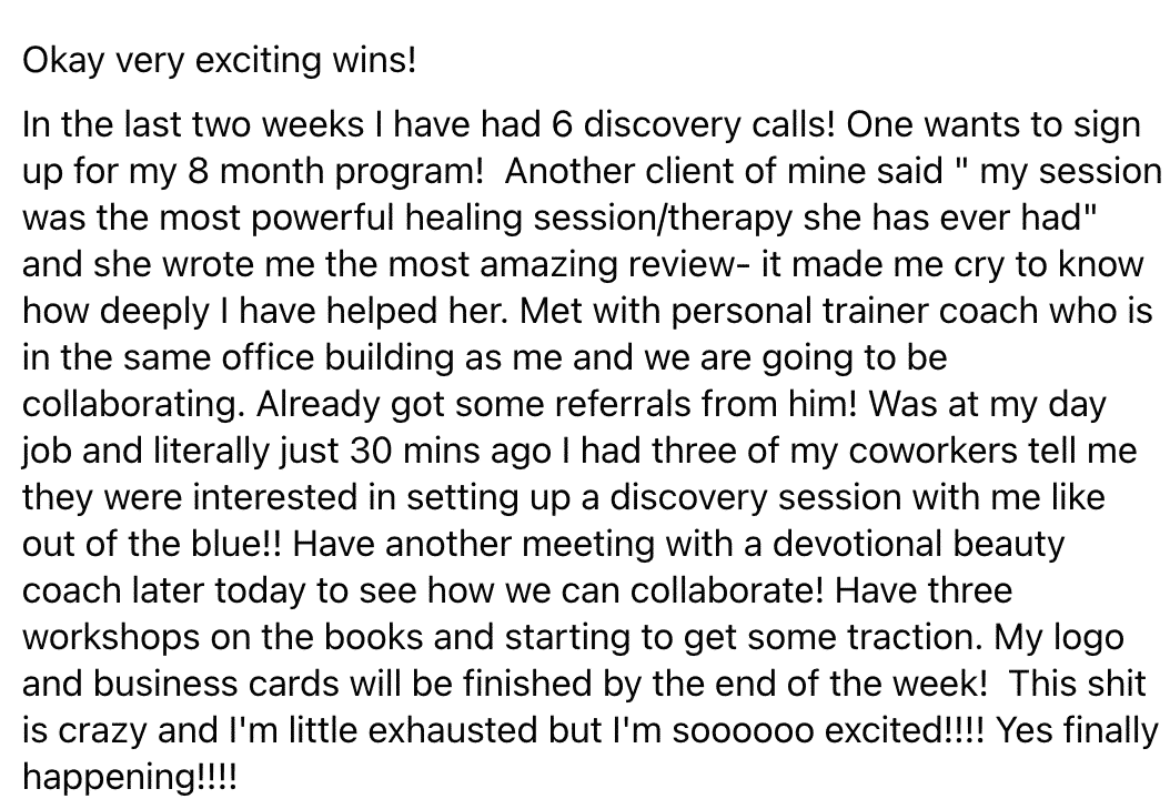 feedback from client beth weinstein